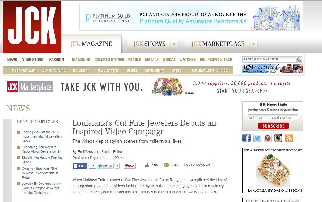 Client Featured by JCK Magazine